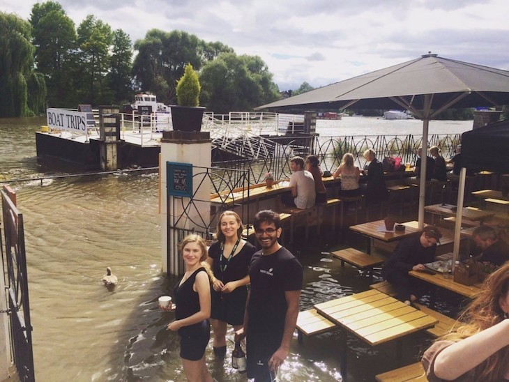 Riverside beer garden in London pub