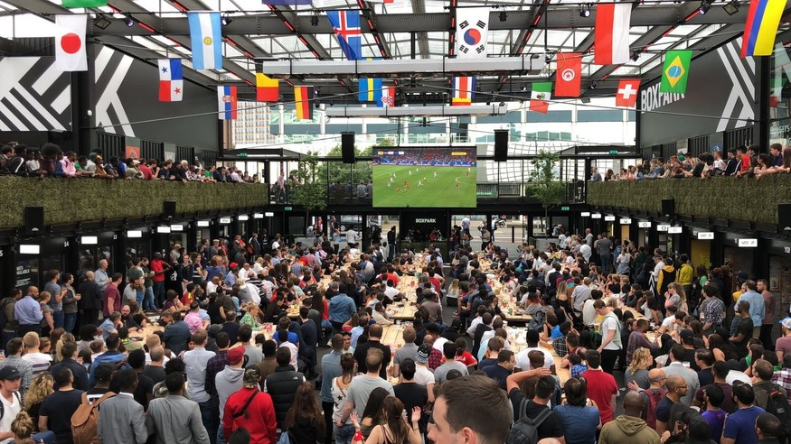 Boxpark Croydon during the World Cup