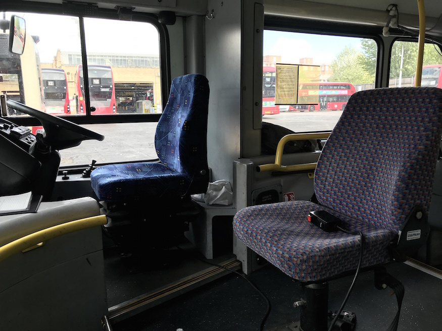 Training seat on a double decker.