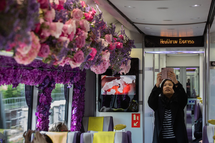 The Fuschia Of Travel? Heathrow Express Carriage Has A Flowery Makeover