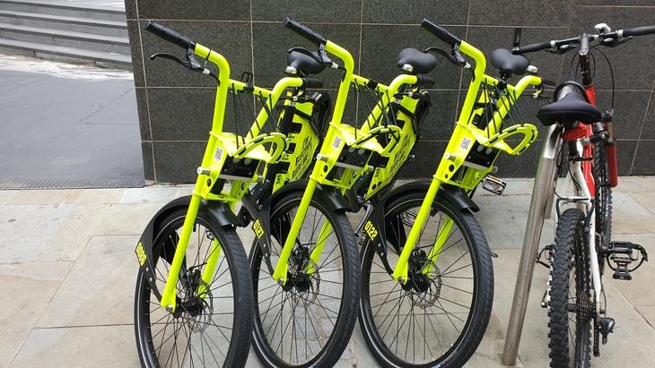 A row of the dockless Freebike.