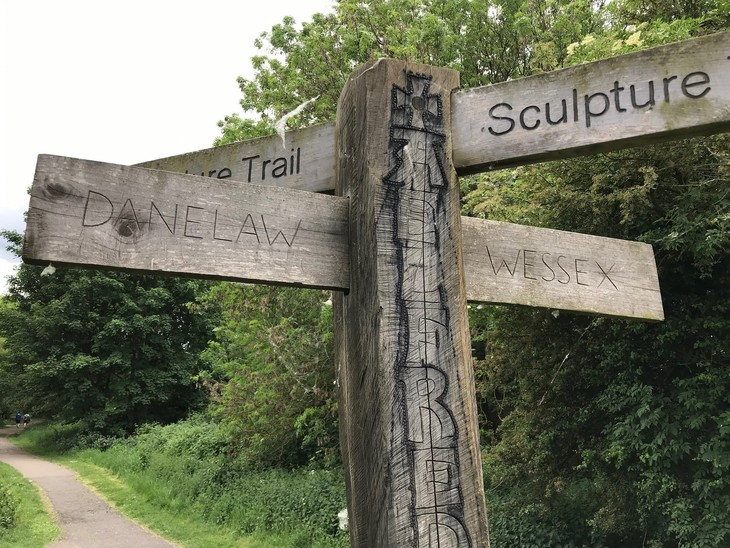 Danelaw and Wessex on a finger post