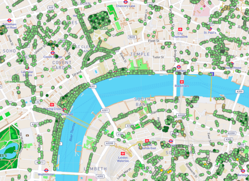 Map of central London trees.