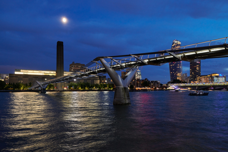 Millennium Bridge with Tate Modern in the background for Illuminated River