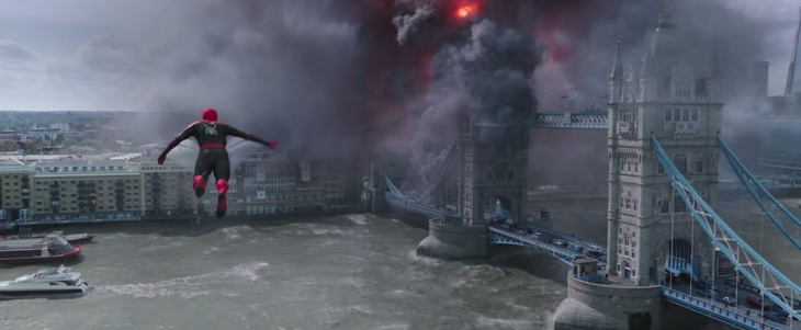Spider Man heading towards Tower Bridge