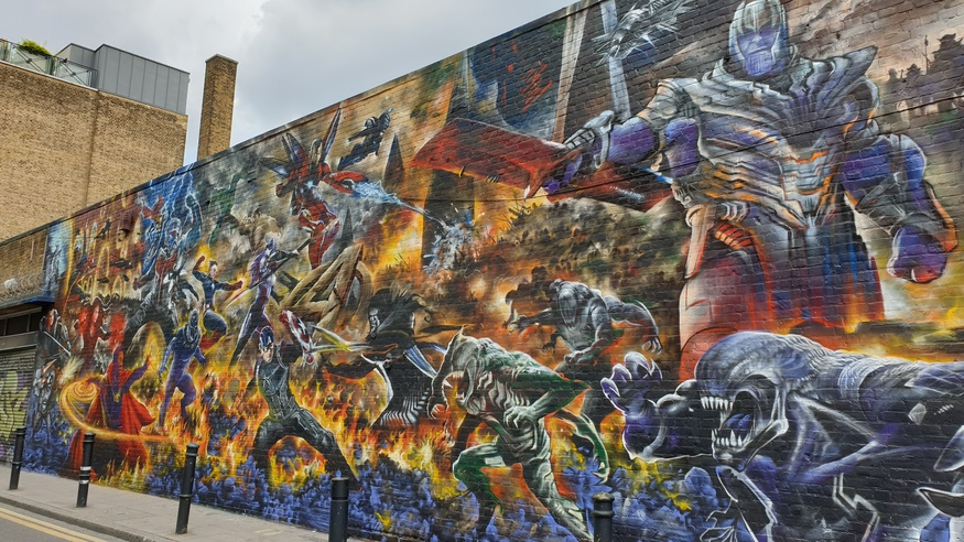 Avengers mural near Brick Lane