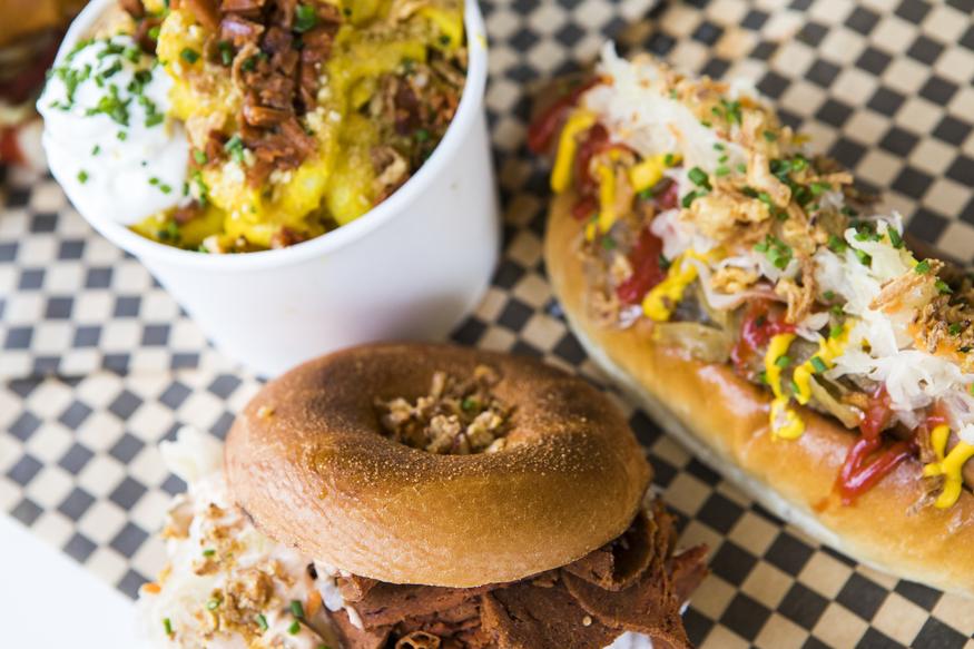 A vegan burger, hot dog and Mac n Cheese from Rudy's Dirty Vegan Diner