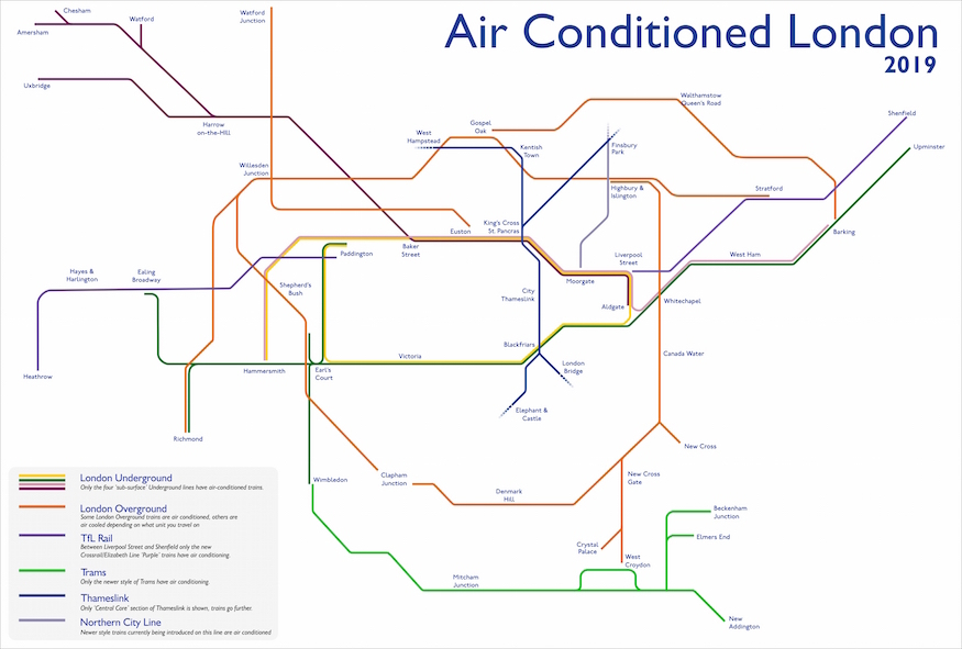 London Line Map.This Tube Map Shows Which Lines Are Air Conditioned Londonist