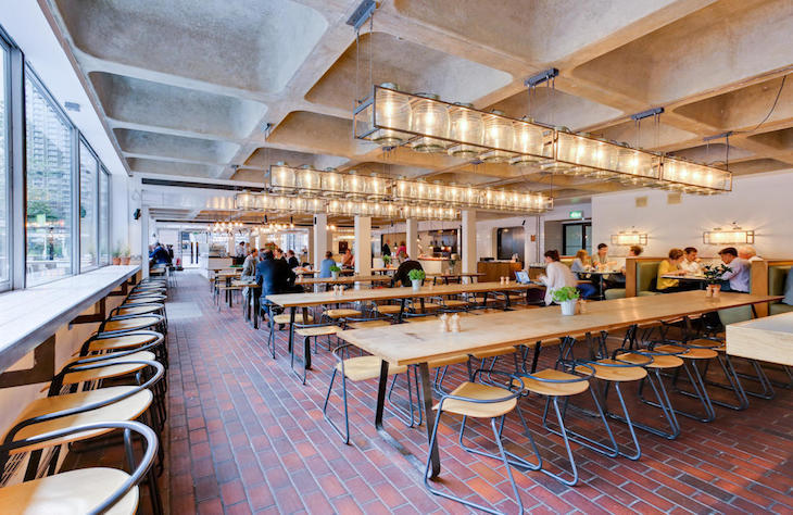 Kids eat free at Barbican Kitchen in the beautiful London arts centre.