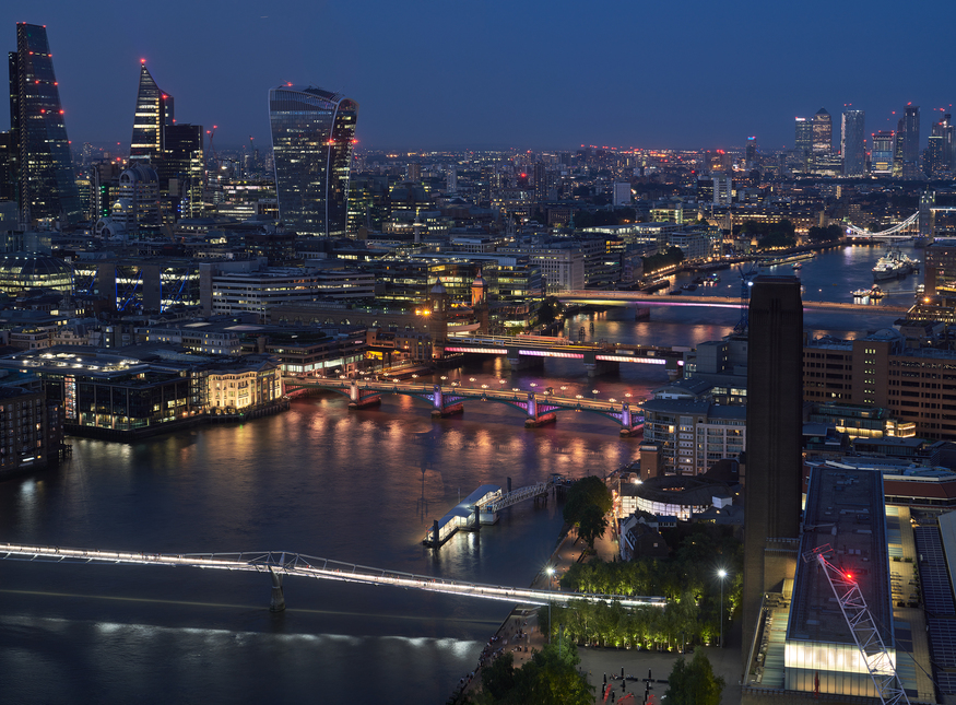 Illuminated River on the Thames as seen from One Blackfriars