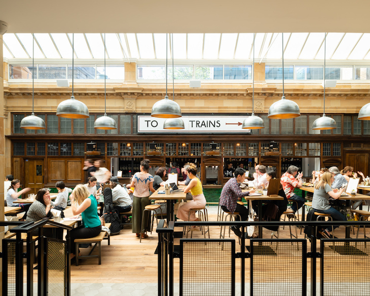 Visit Market Hall Fulham for an unusual bar in a former subway station in London