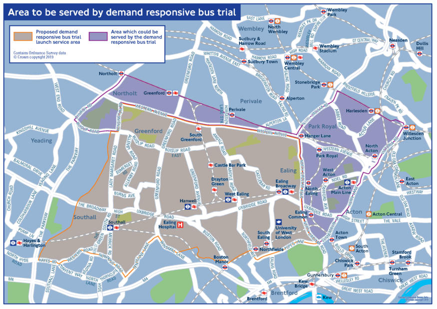 Map of the on-demand bus coverage from Ealing