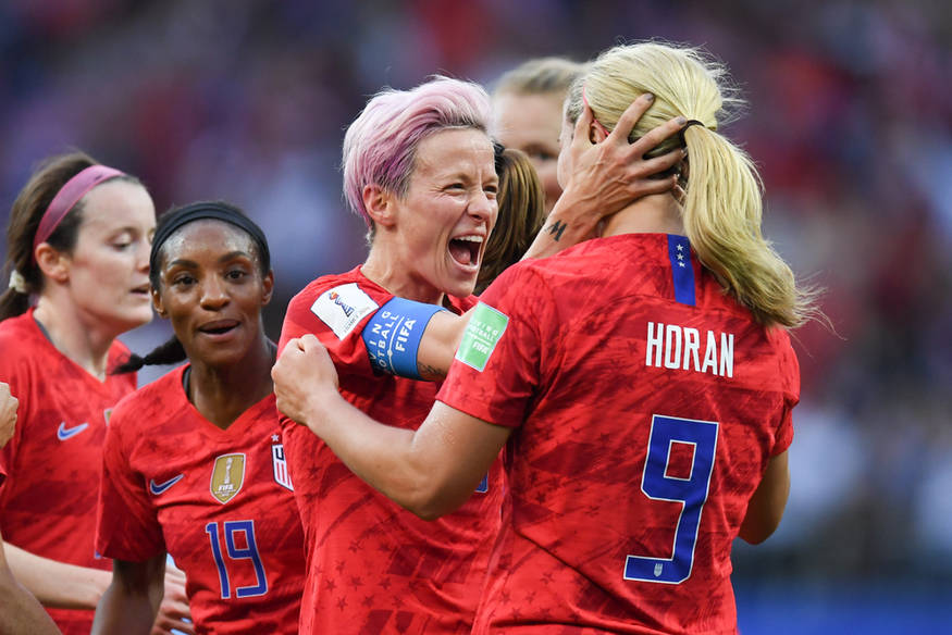 Megan Rapinoe celebrates for the USA