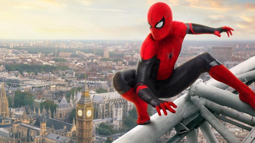 Spider Man on the Millennium Eye with Big Ben in the background