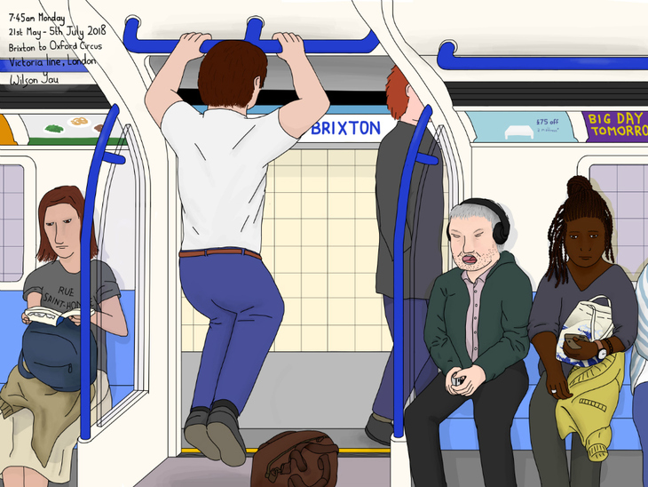 Man doing pull-ups on the tube drawing