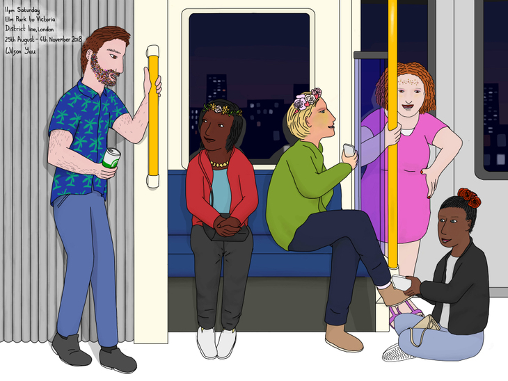 Drawing of partying on the District line