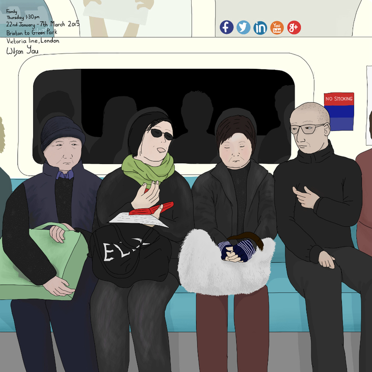 Family on the tube drawing