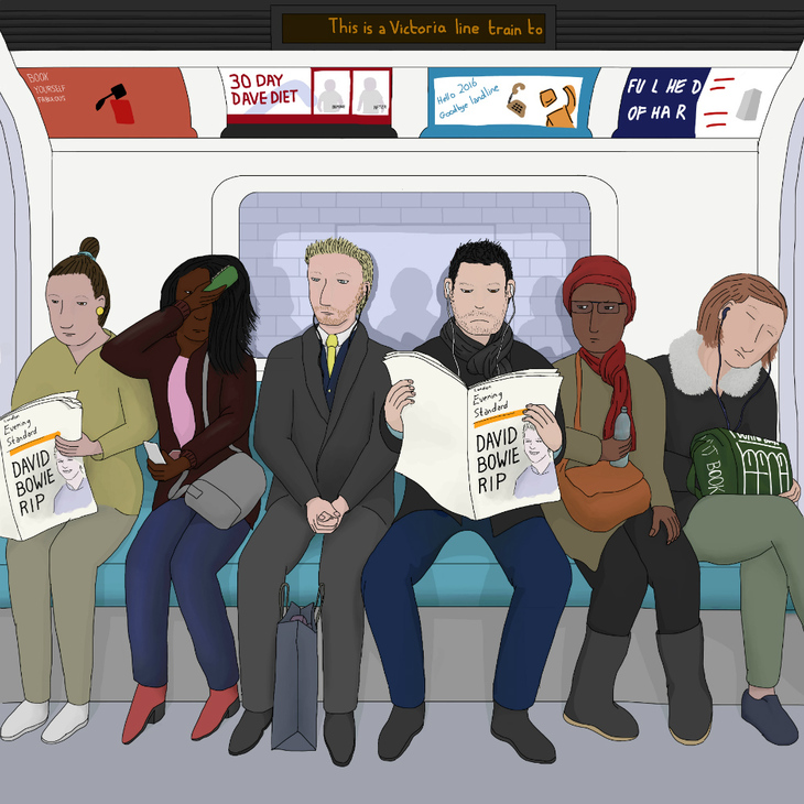 People reading newspapers on the tube.