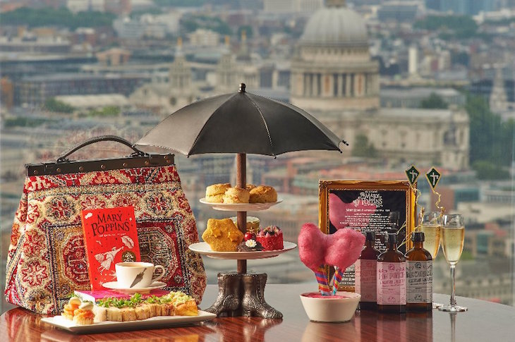 Mary Poppins afternoon tea at AquaShard with views of the London skyline