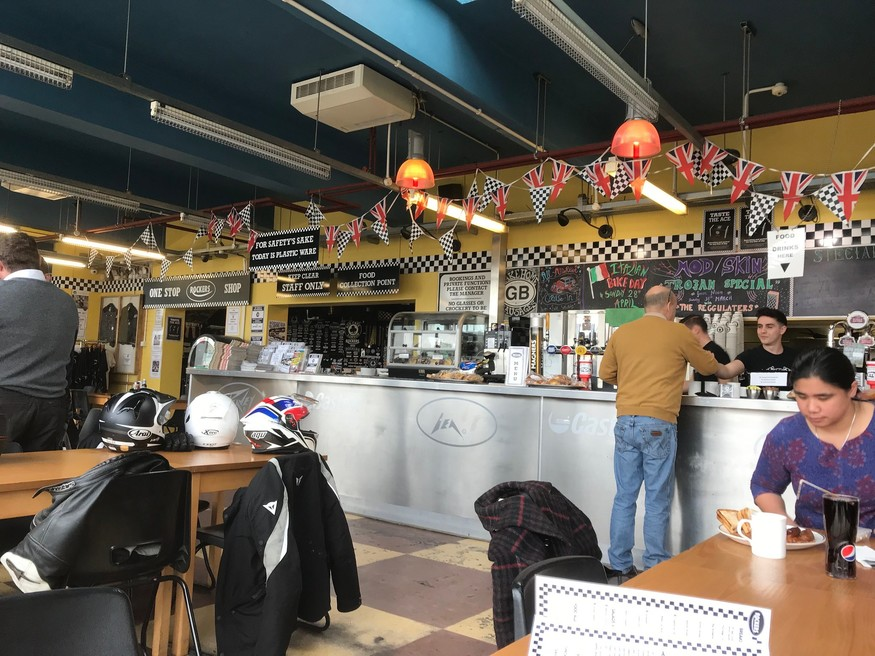 Interior shot of the Ace Cafe. The man in the mustard top is called Mike. He is not a biker.