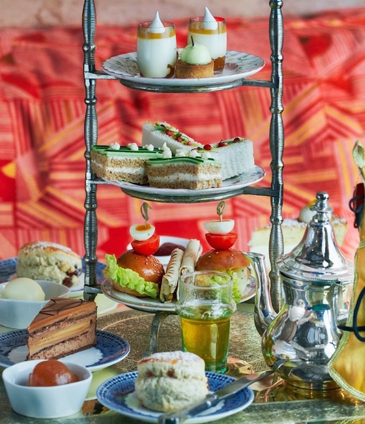 North African/Moroccan afternoon tea served on a tiered stand at Momo