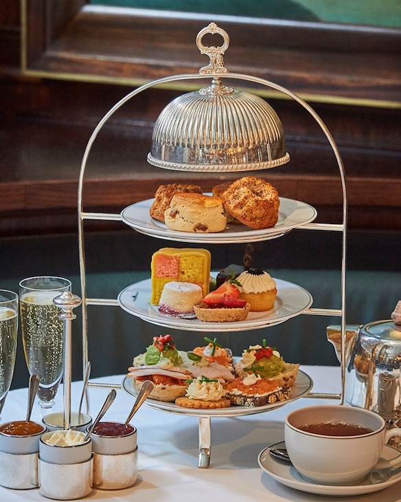 Viennese/Austrian afternoon tea served on a three-tiered silver stand at The Delaunay