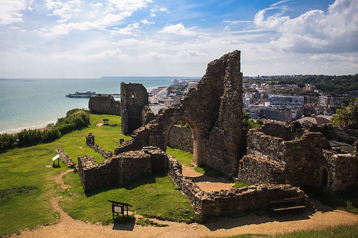Hastings Castle in East Sussex, on a day trip from London