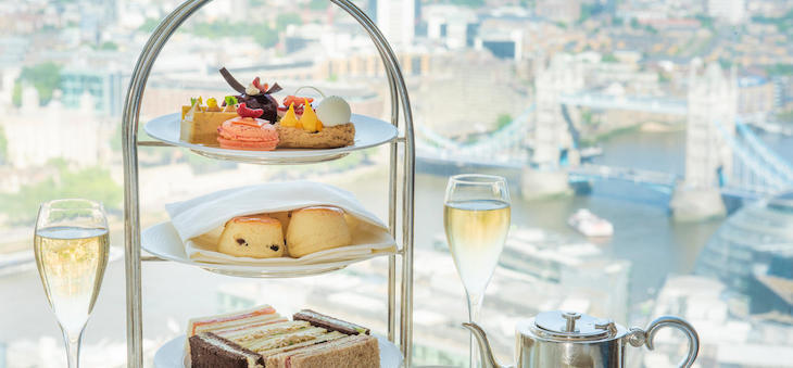 Afternoon tea at Gong at Shangri-La in the Shard,with views of the London skyline