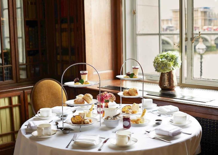 afternoon tea at Library at the Marriott County Hall with views of Big Ben, London Eye, River Thames and Westminster