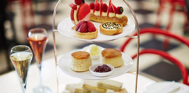 Afternoon tea at Dolly's in Selfridges, Oxford Street, served on a three-tiered stand