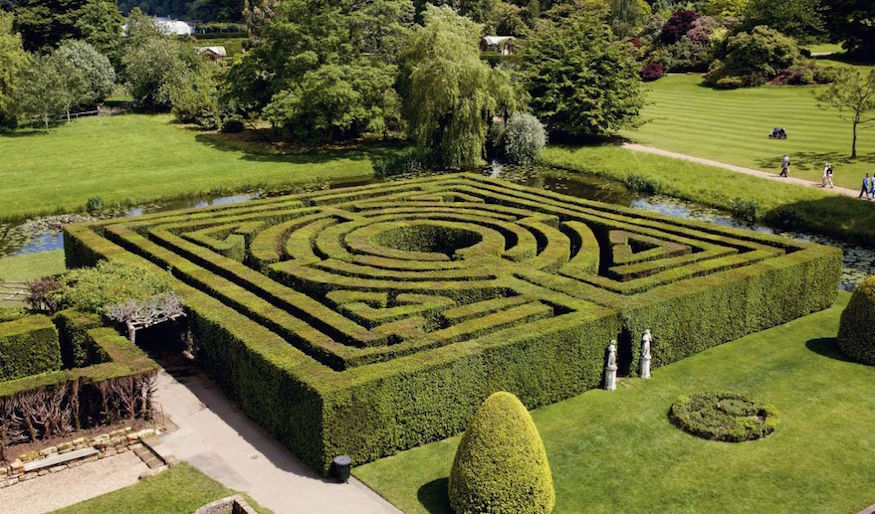 mazes, maize mazes, hedge mazes near london for a day trip: yew tree maze at hever castle in kent