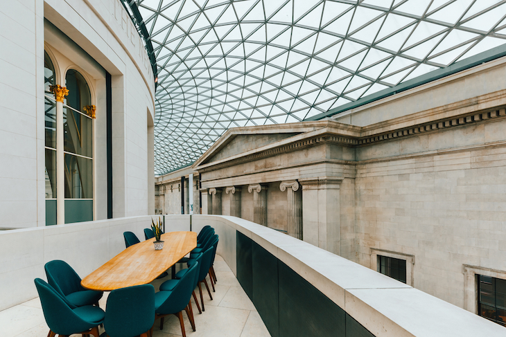 The Great Court restaurant underneath the glass dome roof of the British Museum, London