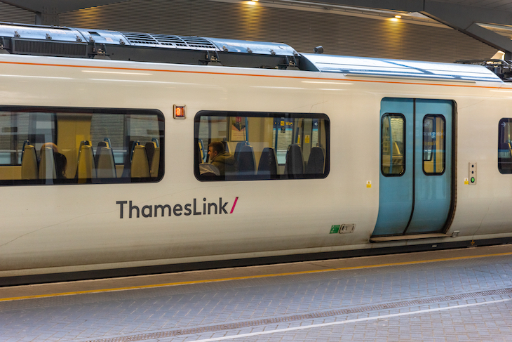 A Thameslink train in a station platform