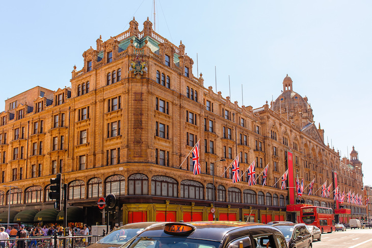 Frontage of Harrods in Knightsbridge, London
