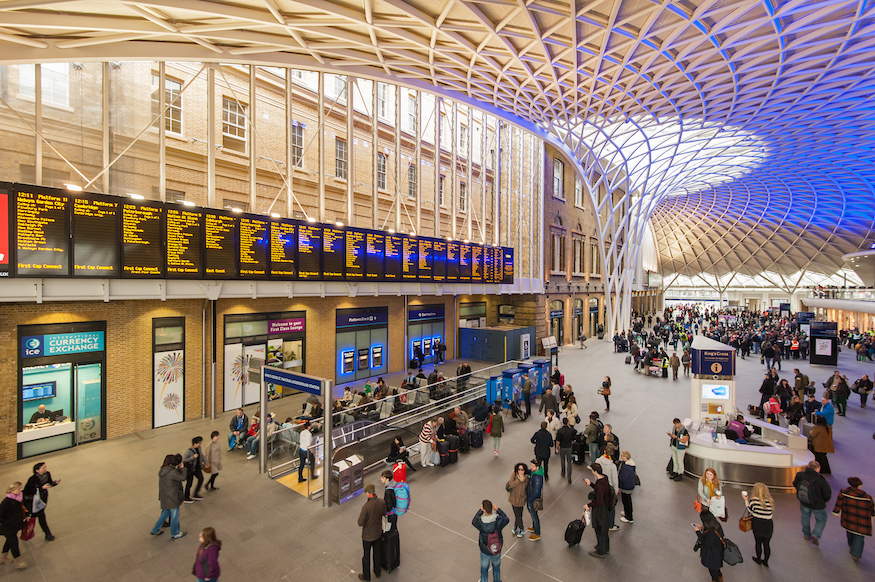 Interior of King's Cross railway station, London - it's closed Saturday and Sunday of the August bank holiday weekend
