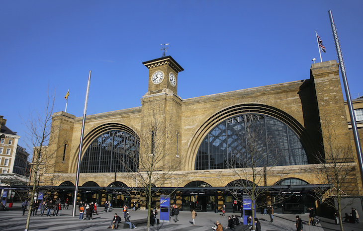 Exterior of King's Cross station against blue skies - the station is shut completely on Saturday and Sunday of the August bank holiday weekend