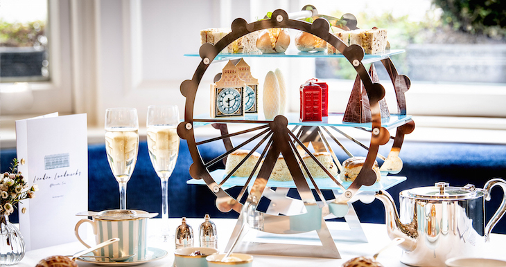 London landmarks/skyline themed afternoon tea at The Town House Kensington, served on a mini London Eye