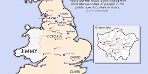 Map Puzzle: Work Out The Celebrity Surnames That Are Also English Places