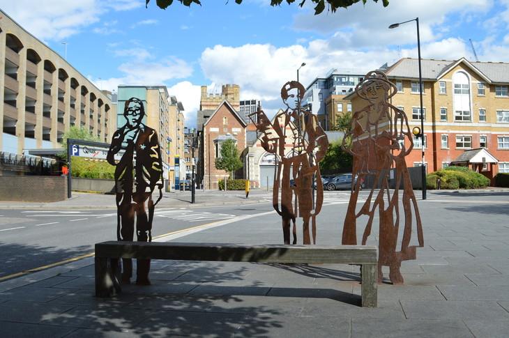 Three statues in Croydon