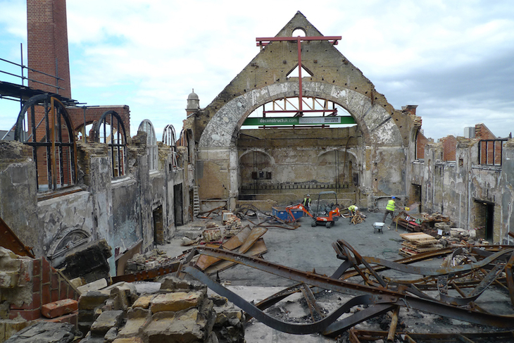 Destroyed great hall at BAC