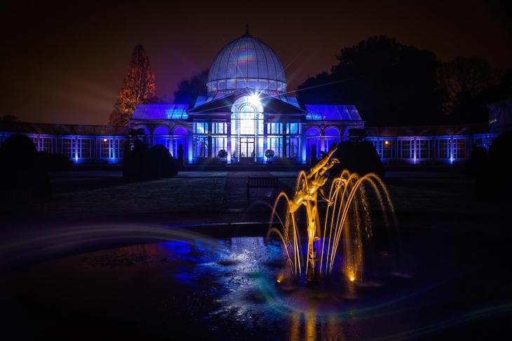 Illuminated conservatory at Syon Park Enchanted Woodland Christmas/winter 2019 light festival London
