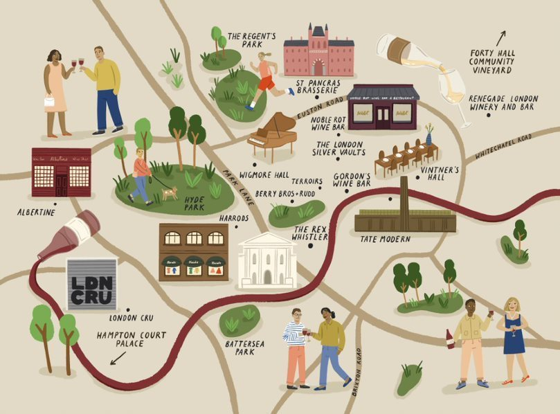 A map of wine-lovers London, drawn by Amelia Flower