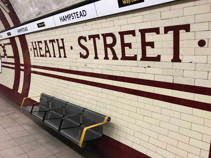Heath Street written in tiles on the Hampstead tube platforms