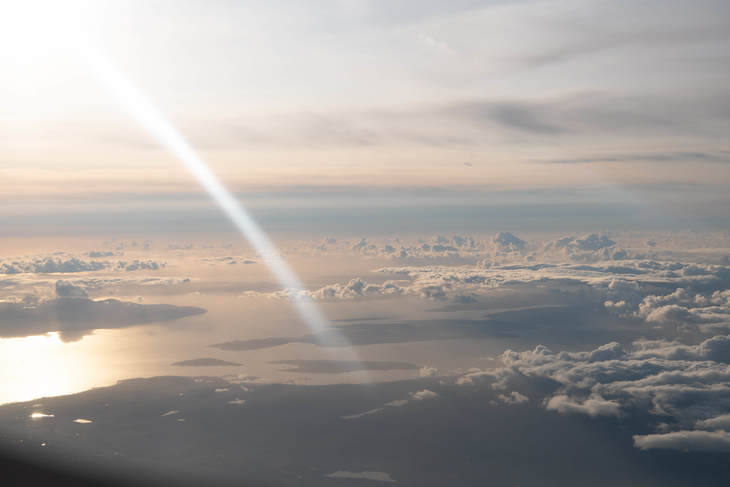 A gorgeous 'Golden hour' above the clouds