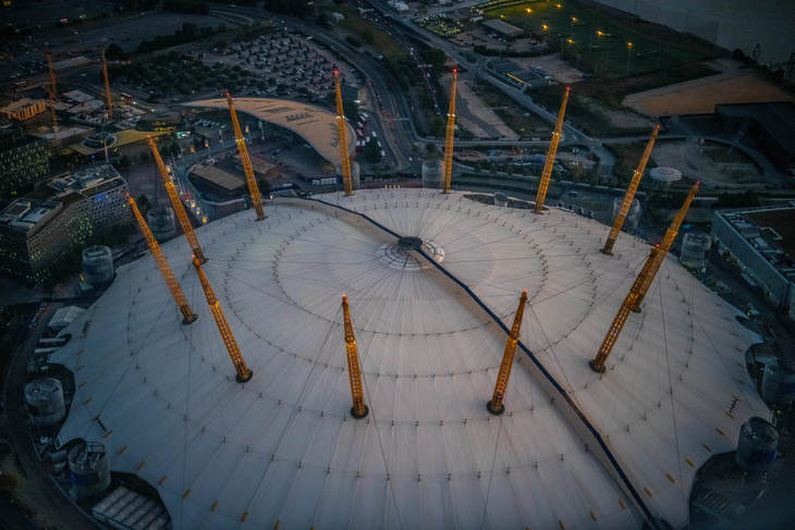 Looking down on The O2 from above