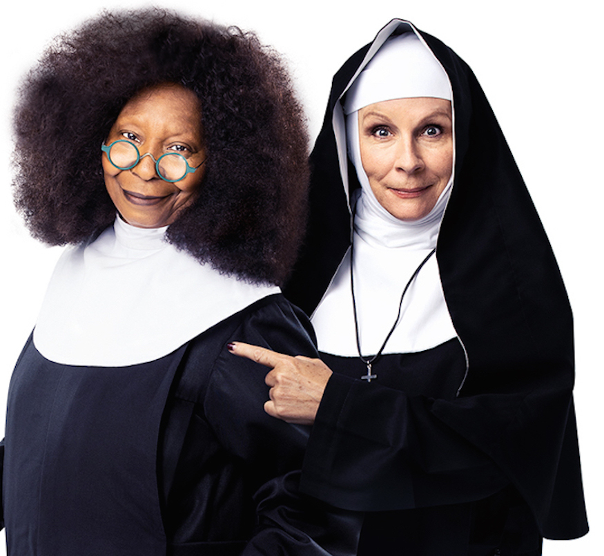 Whoopi Goldberg and Jennifer Saunders as nuns in Sister Act: The Musical at Eventim Apollo, Hammersmith, London, Summer 2020