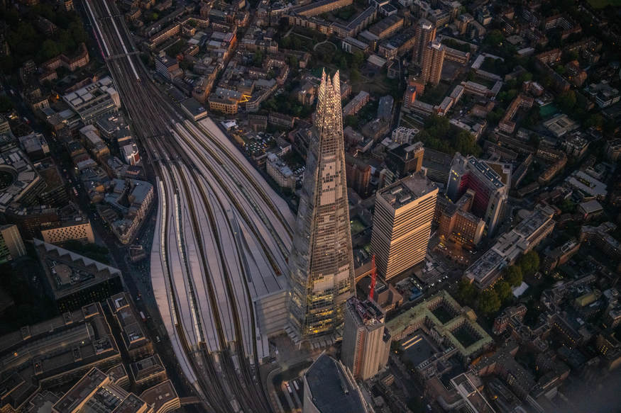The Shard and London Bridge station from above.