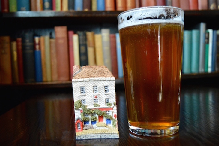 Pint of beer and model of The Grenadier pub in Belgravia, close to Hyde Park Corner for Hyde Park Winter Wonderland