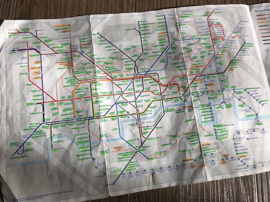 Tube map with highlights