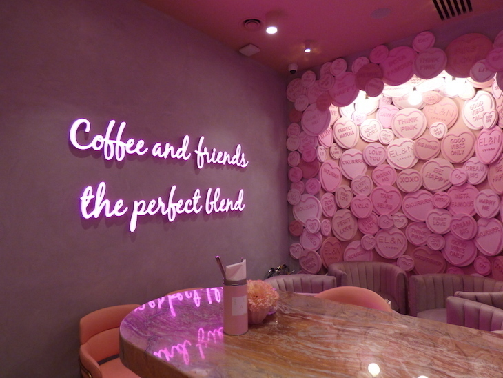 Pink interior of El&n Cafe's Hans Crescent branch next to Harrods - ideal for Hyde Park Winter Wonderland 2019